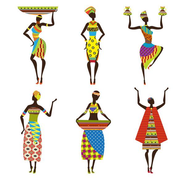 非洲女子矢量图片-矢量人物与卡通-矢量素材-素彩网