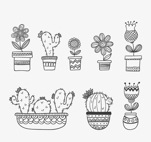 手绘花卉盆栽片,手绘花卉盆栽,花盆,花卉,仙人掌,盆栽,手绘