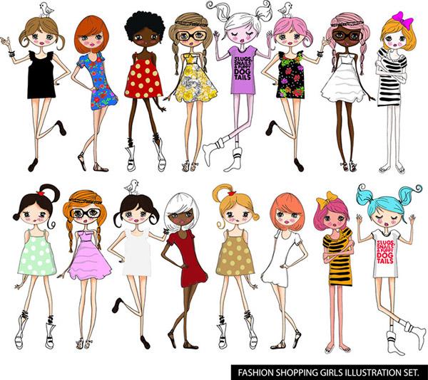 时尚卡通女性矢量图片-矢量人物与卡通-矢量素材-素彩图片