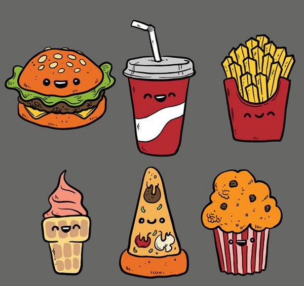 手绘快餐食品矢量图片-矢量水果食物-矢量素材-素彩网