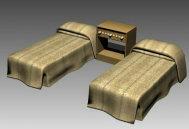 两张古朴的单人床3D模型下载