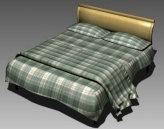 温馨的加格子布纹被褥的大床3D模型下载