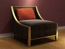 休闲灰色沙发椅3D模型(含材质)