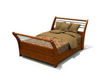 传统实木双人床3D模型
