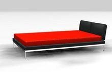 深黑艳红单人床3D模型