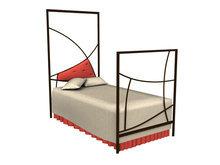 现代铁艺单人床