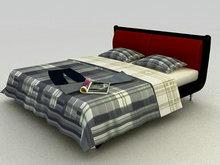 灰色格子的床3D模型