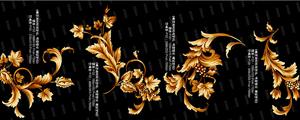 金色华丽韩国花纹图案PSD素材
