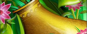 金色花瓶与鲜花分层psd素材
