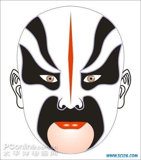 Coreldraw绘制中国京剧马谡的脸谱