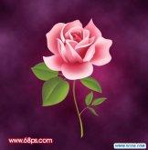 ps打造一朵粉红色的卡通玫瑰花