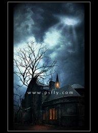 PS合成夜色下梦幻的神秘古堡