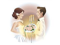 婚礼新娘新郎矢量图