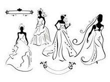 新娘婚纱剪影矢量图