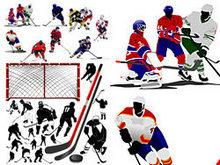 滑冰冰球运动员矢量图