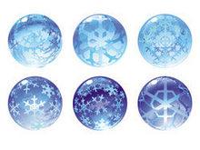雪花剔透水晶球矢量图