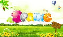 春天Spring绿色乡野海报PSD素材