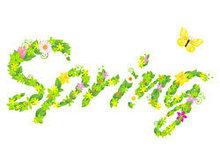 花朵树叶组成的spring矢量图