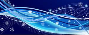 雪花与蓝色动感线条矢量图