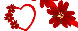 心形红色小花朵矢量图