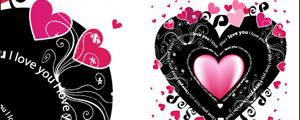 黑粉红色的心形爱情元素矢量图