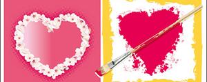 漂亮爱情花边心形主题矢量图