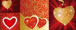 钻石珍珠爱情心形矢量图
