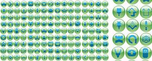 绿色水晶圆球符号按钮图标矢量图