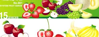 草莓苹果水果矢量图
