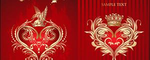 红色欧式心形花纹皇冠矢量图