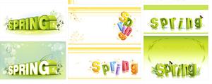 spring花纹立体字矢量图下载