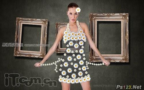 ps为美女教你制作一条花朵组成的裙子
