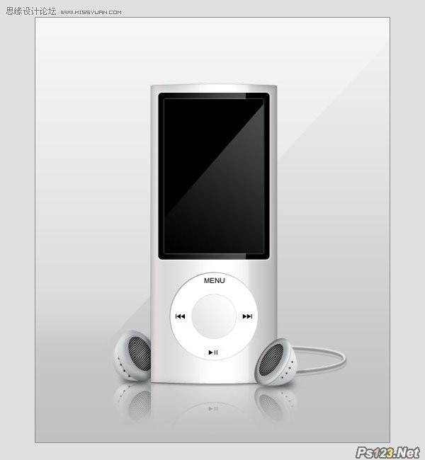 ps制作逼真的苹果MP3