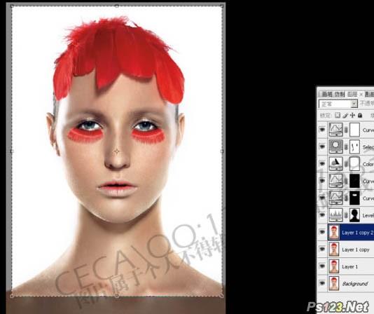 ps调出模特精细的面部肤色