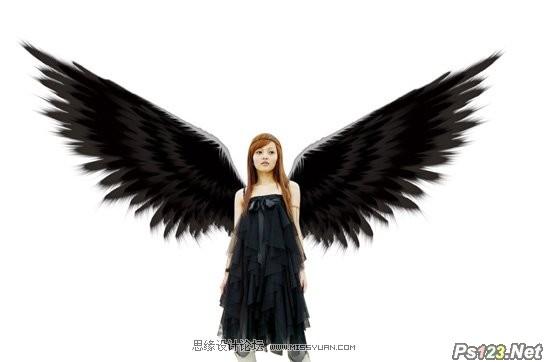 ps制作和合成漂亮的黑翼天使
