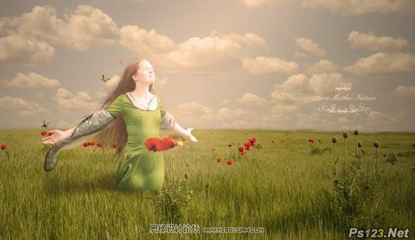ps合成草原上回归自然的美丽女孩