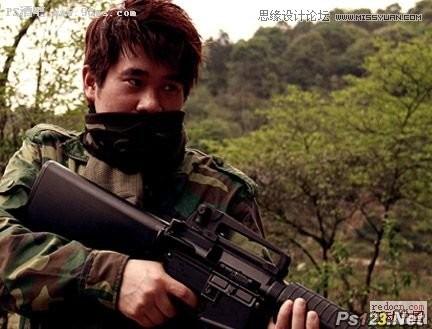 ps合成野战场景中的战士