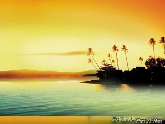 ps教你制作浪漫的黄昏湖景图