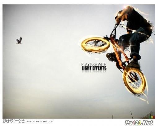ps制作光线绚丽的自行车特效