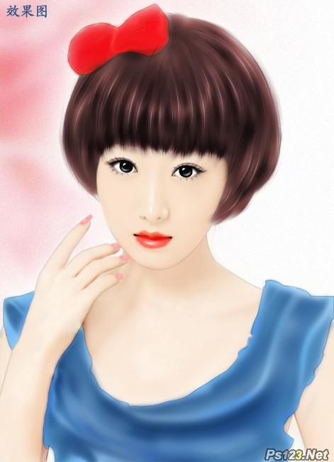 ps转手绘教程:给清晰的美女照转手绘