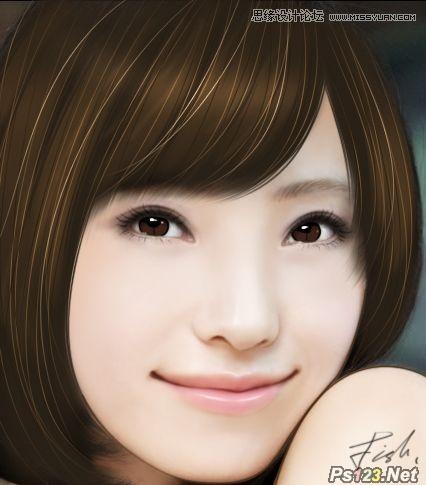ps把美女头像处理成唯美的手绘效果