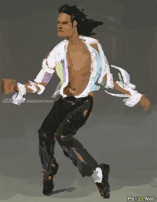 ps制作杰克逊的经典舞步油画