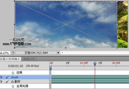 Photoshop制作高山流水白云动画教程,PS教程,思缘教程网