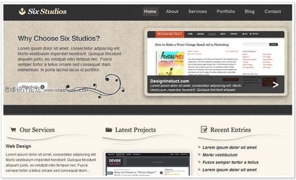 ps设计清新高雅的网页模板教程