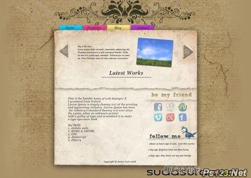 ps设计一张古典颓废风格的网站模板