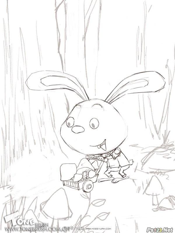 ps制作森林里辛勤工作的小兔子