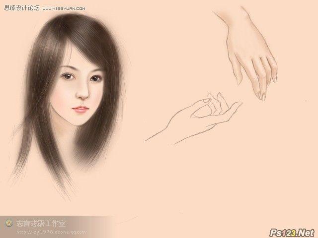 ps加手绘板制作中国风的美女