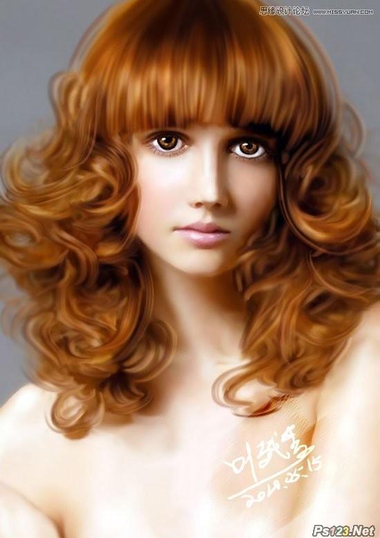 ps鼠绘美女逼真的金发模特