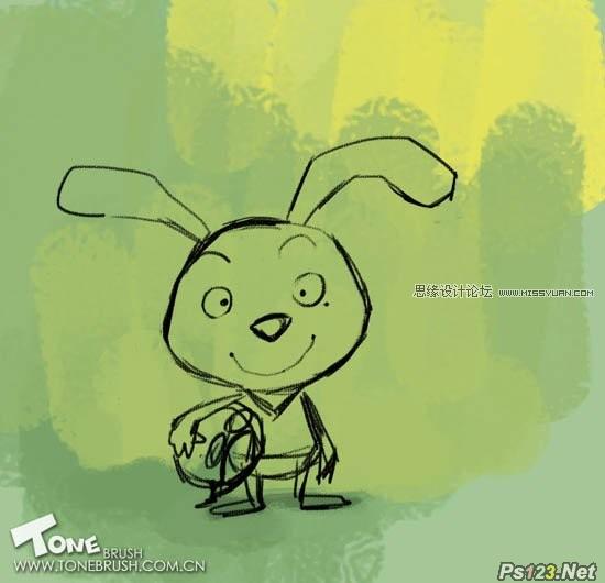 ps鼠绘可爱的卡通小兔子