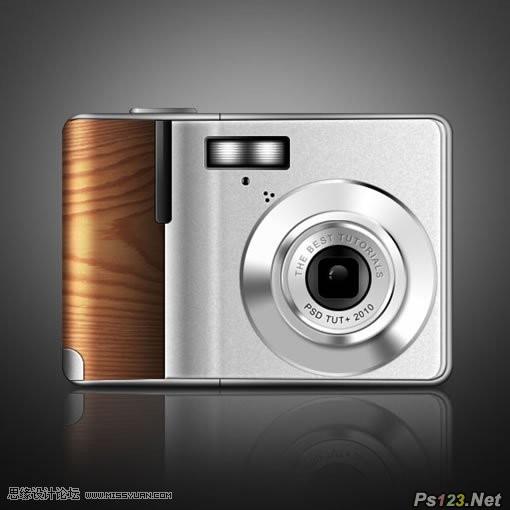 ps制作木质的数码相机教程